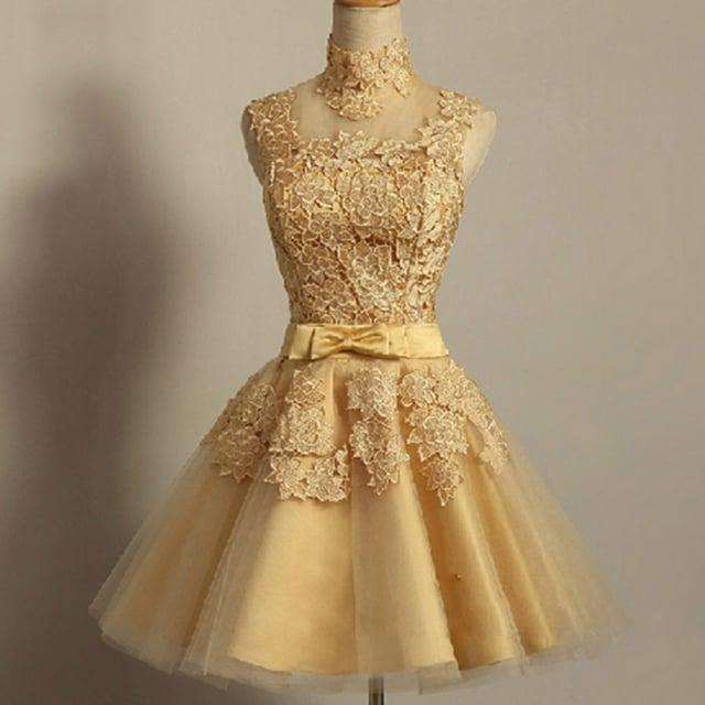 Honey Dress — Gold Lace High Neck Halter Illusion Cocktail Dress ...