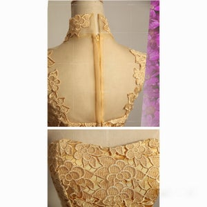 Image of Gold Lace High Neck Halter Illusion Cocktail Dress With Sheer Back