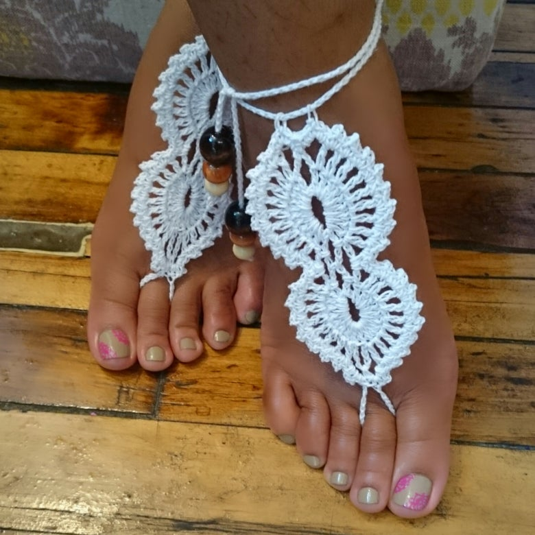 """Image of """"Lacey """" Crochet Barefoot Sandals"""
