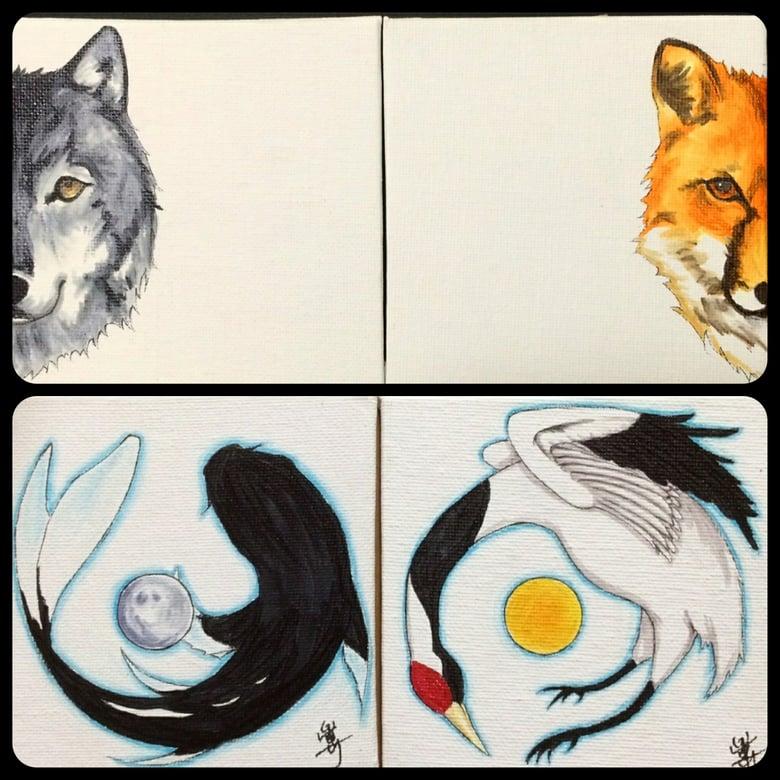 Image of Yin & Yang Animals Custom Original Art on Canvas