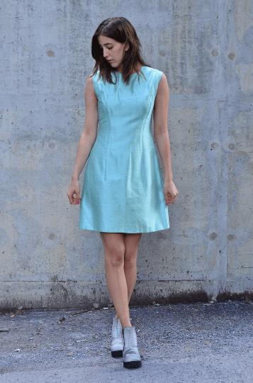 Image of Vintage 60's Pale Blue Raw Silk Dress