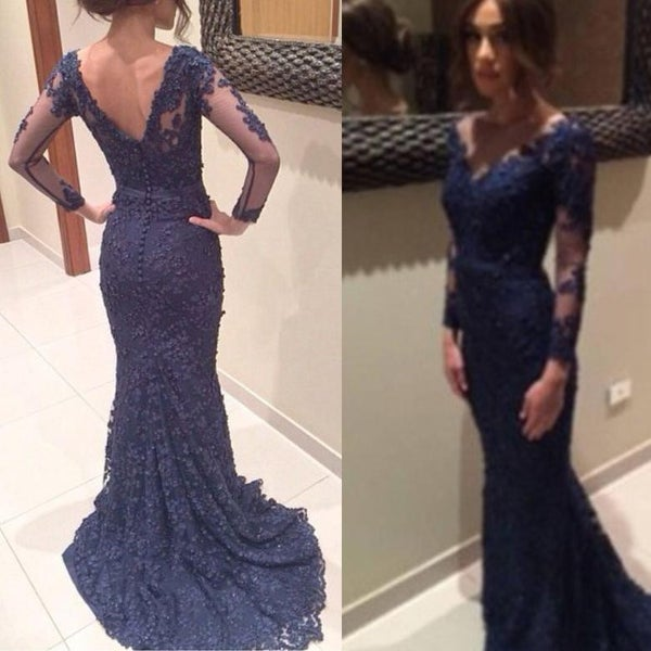 Image of Designer Navy Blue Lace V Neck Long Sleeves Mermaid Evening Gown With V Back