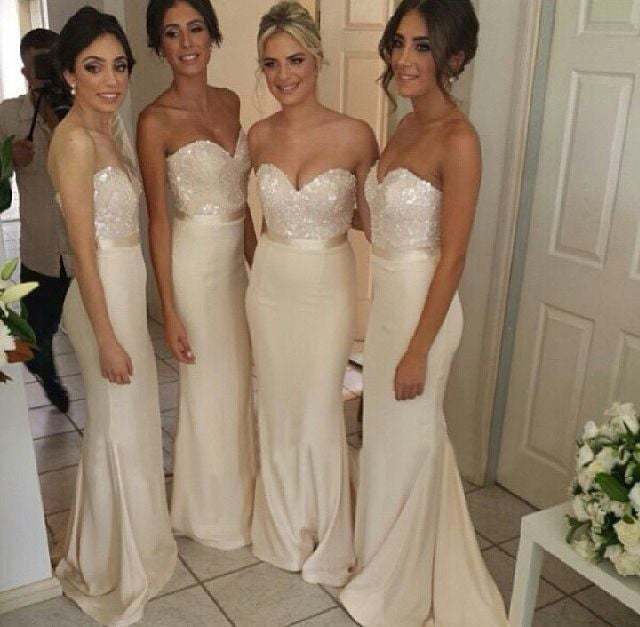 Image of Champagne Satin Sweetheart mermaid Bridesmaid dresses With Sequin Bodice