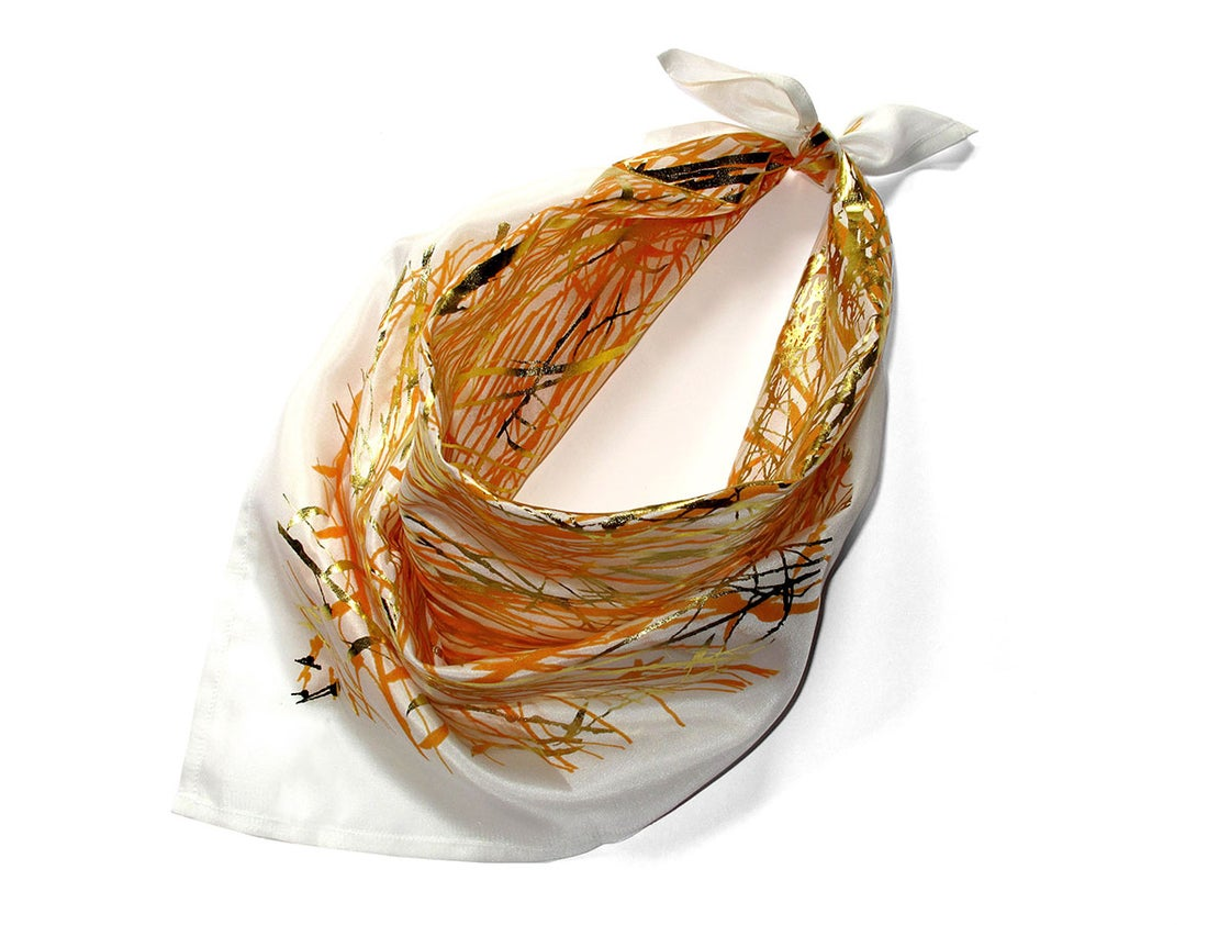 Image of Gold printed Silk Square neck Scarf with Willow Design.