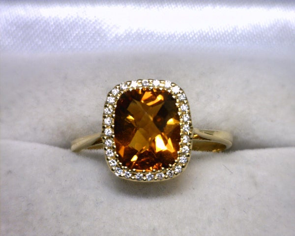 Image of 18K Yellow Gold Citrine / Diamond Ring