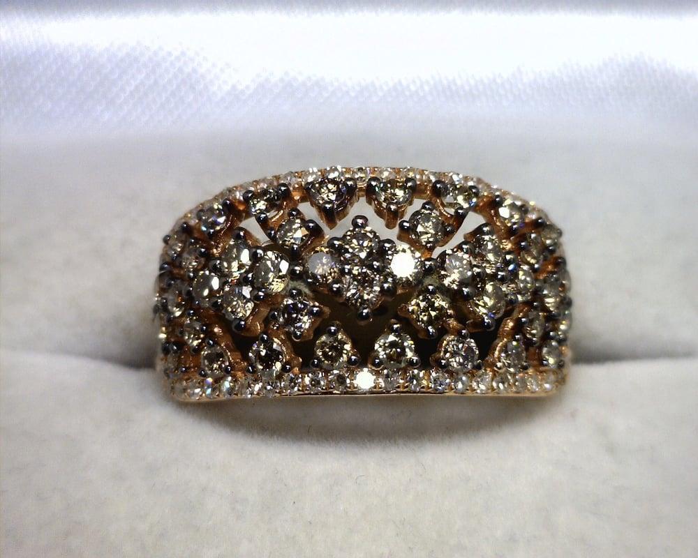 Image of 14K Rose Gold Brown / White Diamond Ring