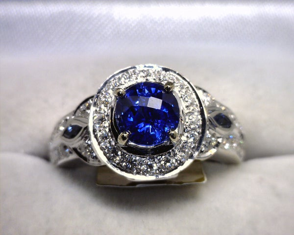 Image of 14K White Gold Ceylon Sapphire / Diamond Ring
