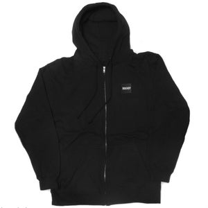 Image of 90East Logo Label Zip Up Hoodie Black