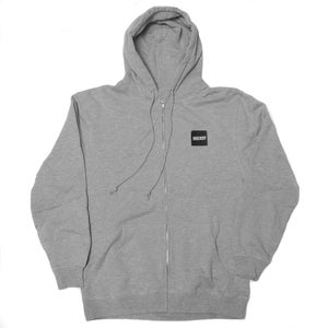 Image of 90East Logo Label Zip Up Hoodie Heather Grey