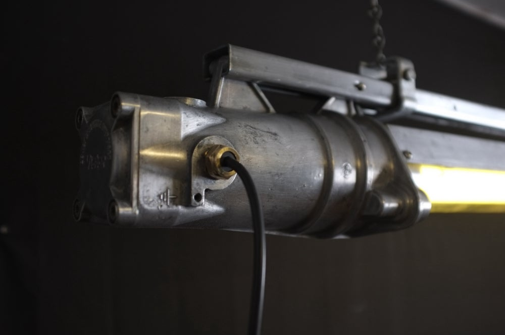 Image of Vintage Industrial Explosion Proof Light With Shade.