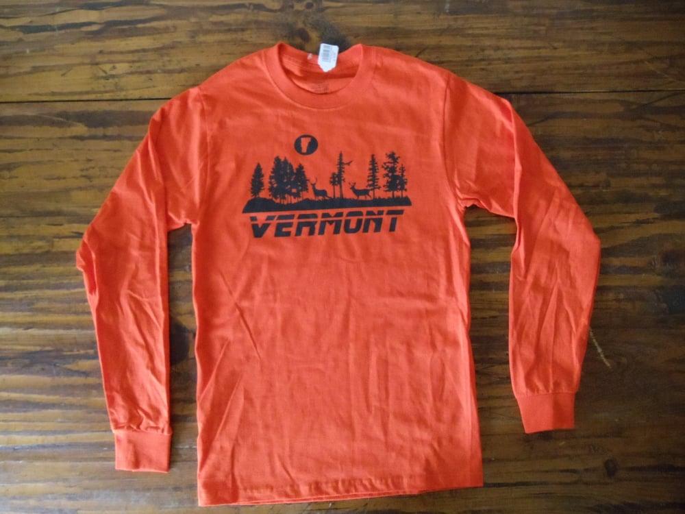 Image of Vermont Moonrise Long Sleeve Shirt - black on orange - Vermont Shirt - VT Long Sleeve