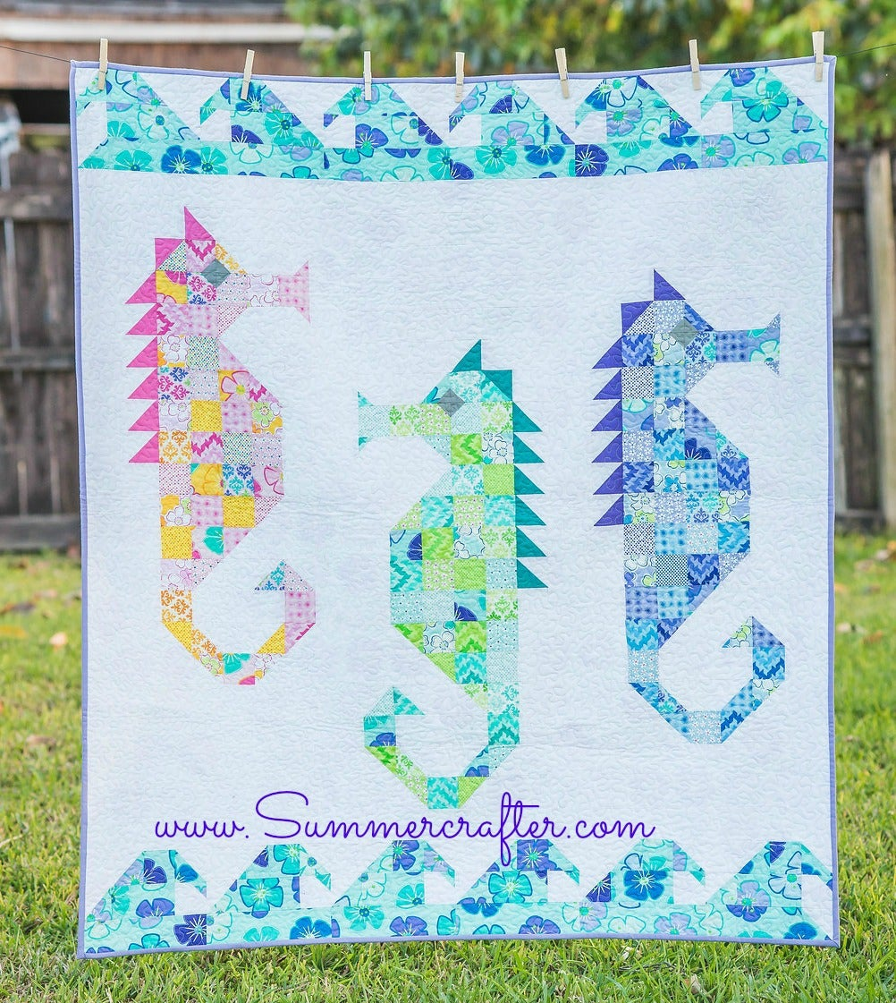 Watercolor Sea Horses Quilt Pattern Pdf Download