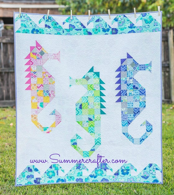 Image of Watercolor Sea Horses-Quilt Pattern PDF download