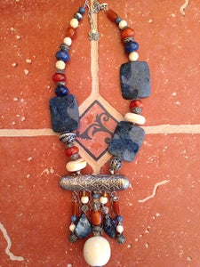Image of Antique gelit silver Afghan center with natural lapis set
