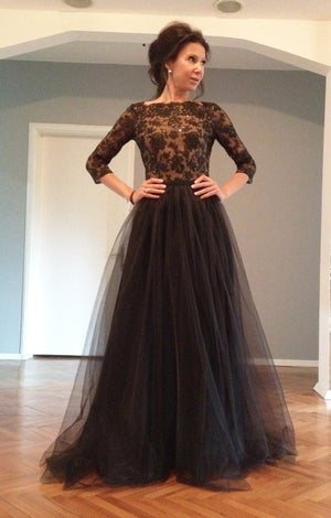 Image of Tulle Black 3/4 Sleeves Tulle Deep V-neck Evening Dress With Lace Appliques