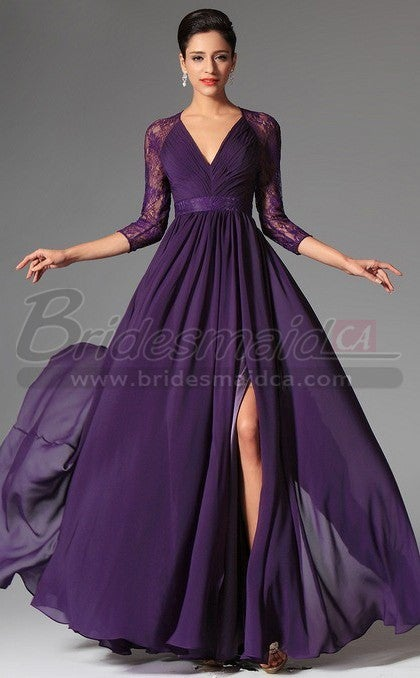 Lace Purple Bridesmaid Dress With Long Sleeve Canada