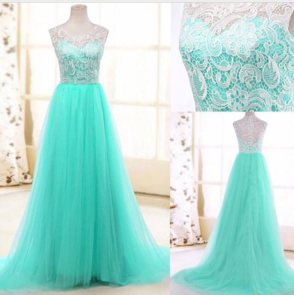 Image of Mint Tulle A Line Formal Prom Dress With Lace Bodice