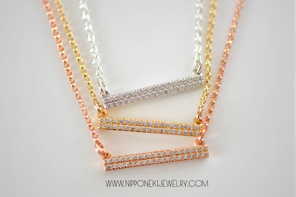 Image of Cubic Zirconia Pave Bar Necklace in Sterling Silver, Rose Gold or Gold Vermeil