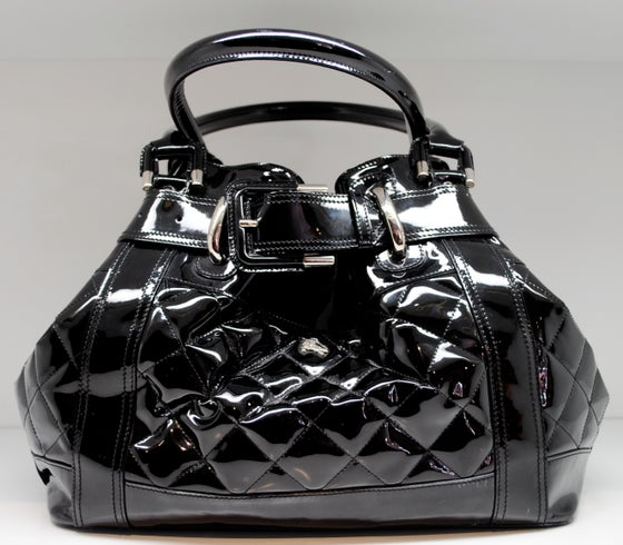 Image of Burberry Black Patent Leather Quilted Beaton Tote