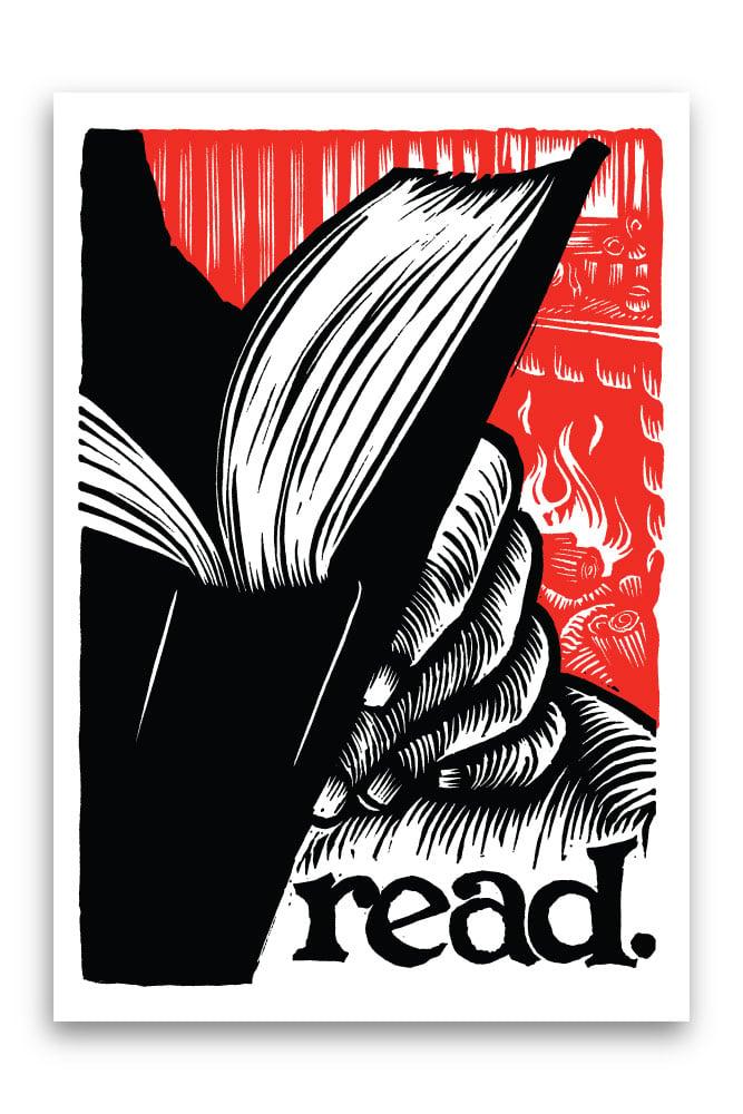 Image of read.  3.25x4.75 vinyl sticker