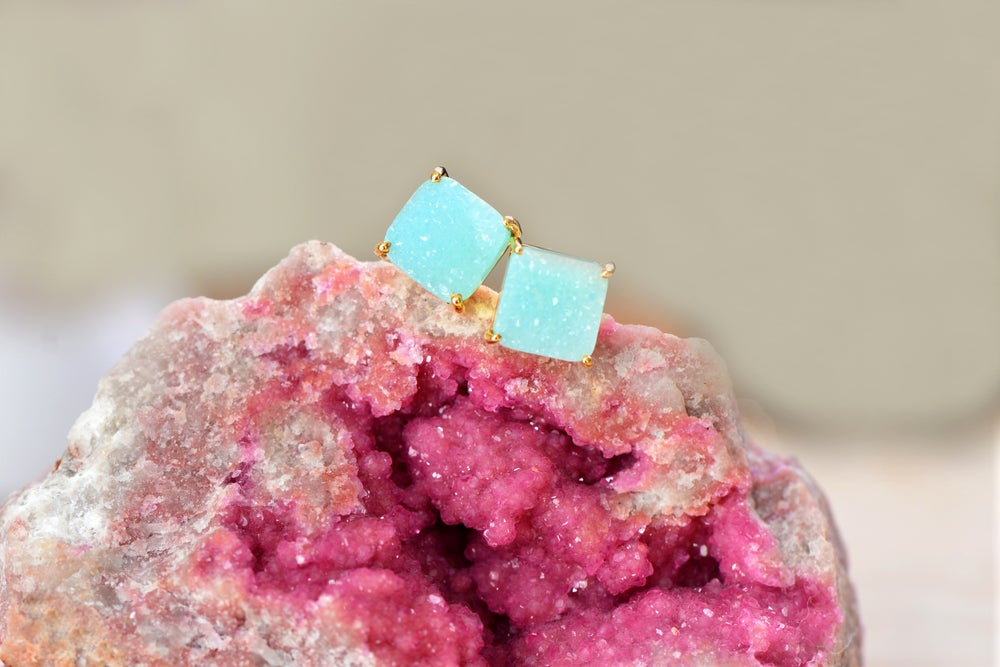 Image of Turquoise Druzy Stud Earring In 18k Gold Vermiel Cushion
