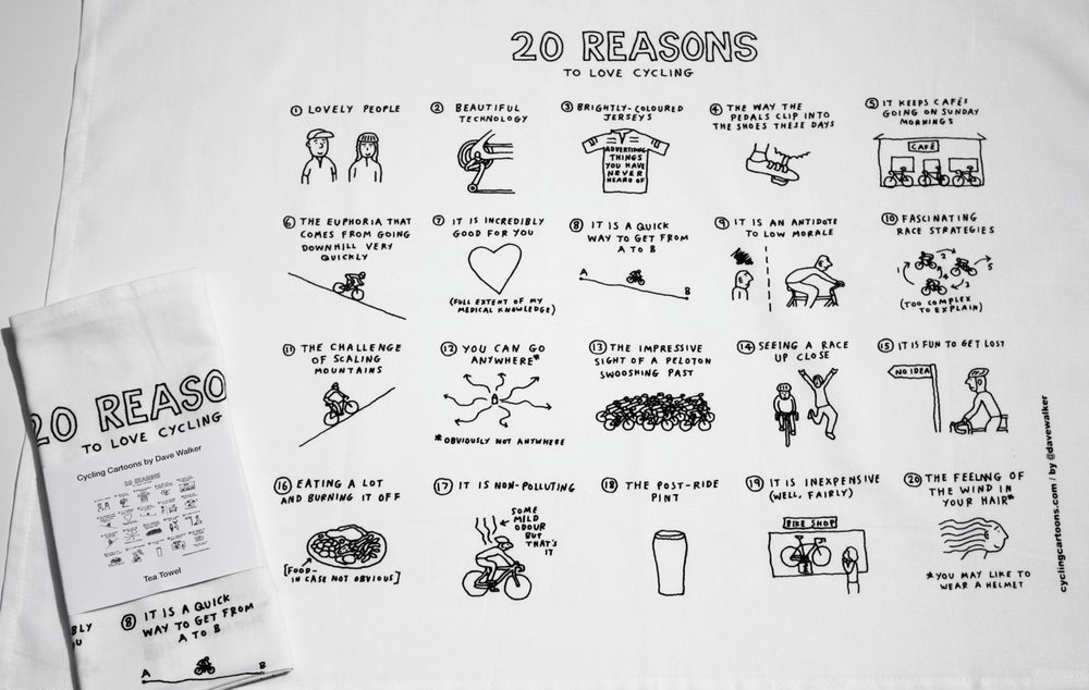 Image of '20 Reasons To Love Cycling' Tea Towel