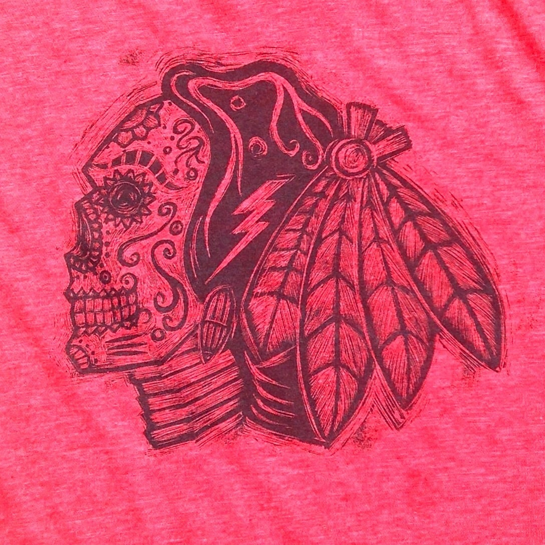 Sugarskull Hawks Red Heather Tee