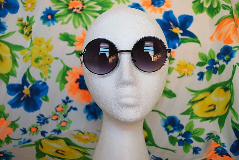 5fbc5073ba6 Image of Oversized Round Sunglasses Vintage Black Circle Sunglasses Retro  Hippie Glasses