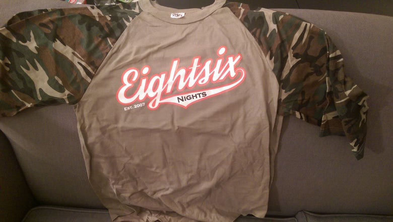 Image of 86 Nights X 86 Fight Club Tan/Camo 3/4 Sleeve Reglan
