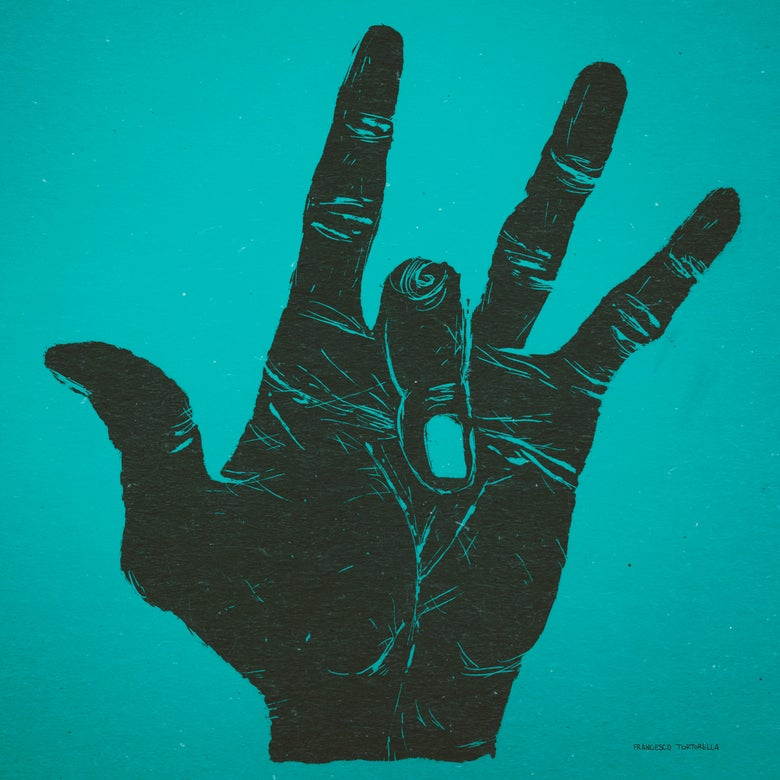 Image of The Hand of Miles Davis in Cyan