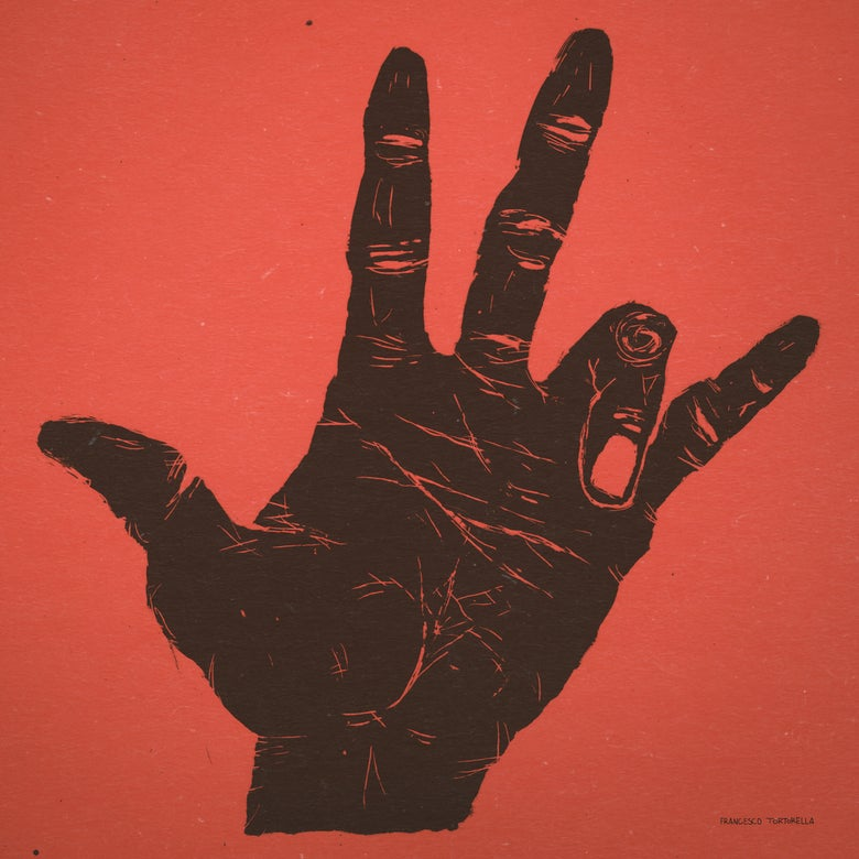 Image of The Hand of Miles Davis in Red