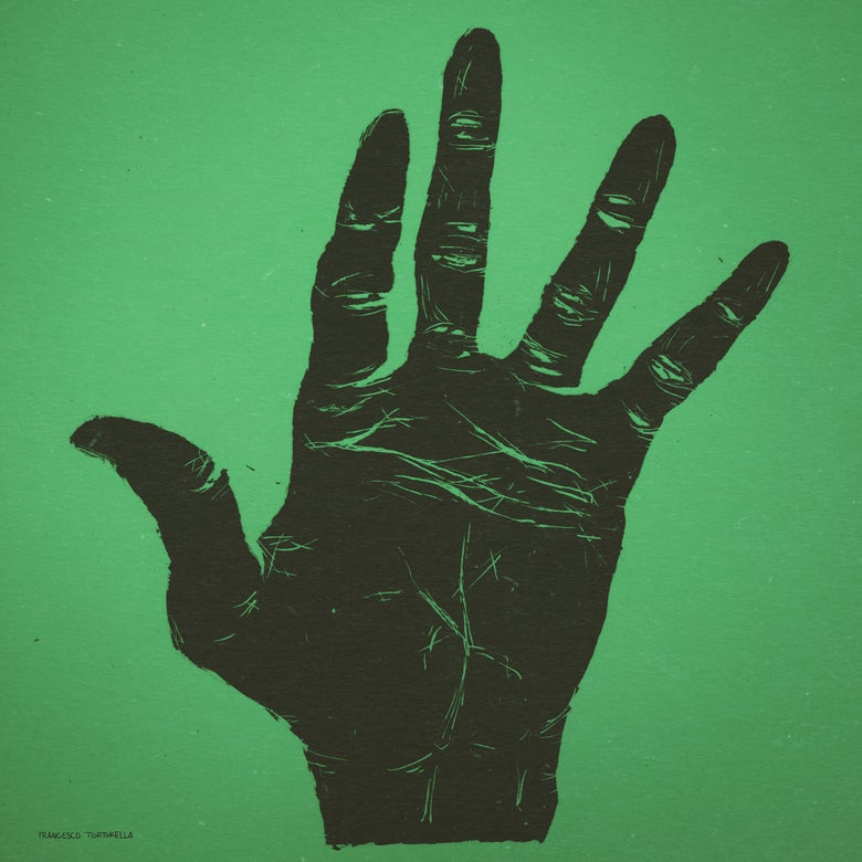 Image of The Hand of Miles Davis in Green