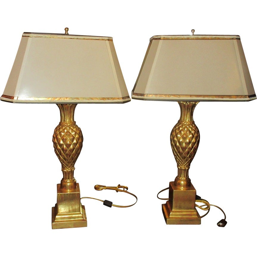 Image of Superb Pair of Thomas Morgan Designer Table Lamps Pineapple Base & Custom Shade