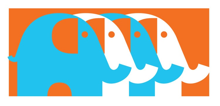 Image of Four Elephants Teal - Screenprinted Mini Art Print