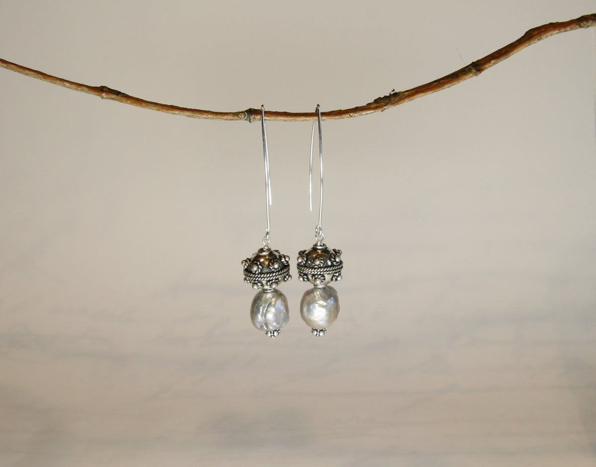Grey Baroque Earrings