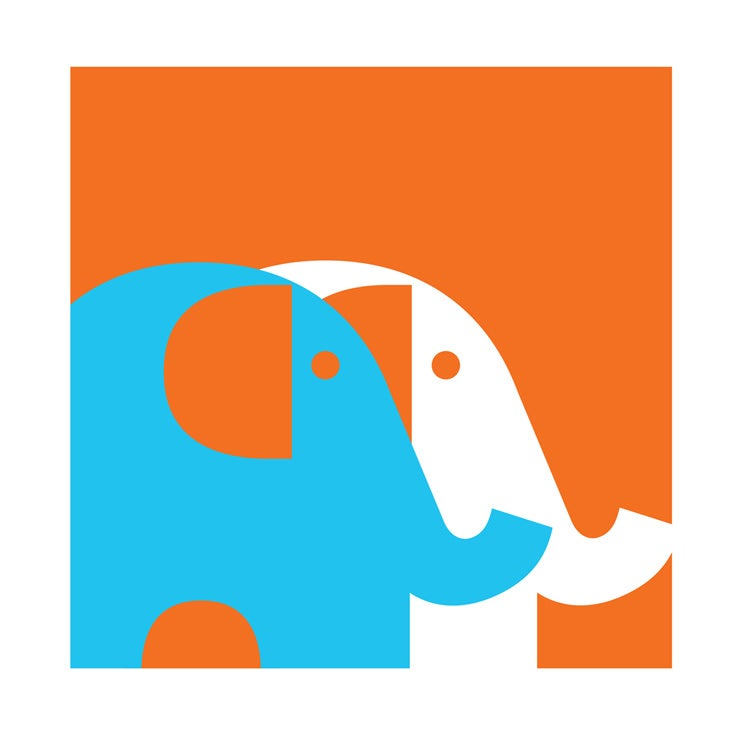 Image of Two Elephants Teal Screenprint