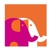 Image of Two Elephants Fuschia Silkscreen Art Print