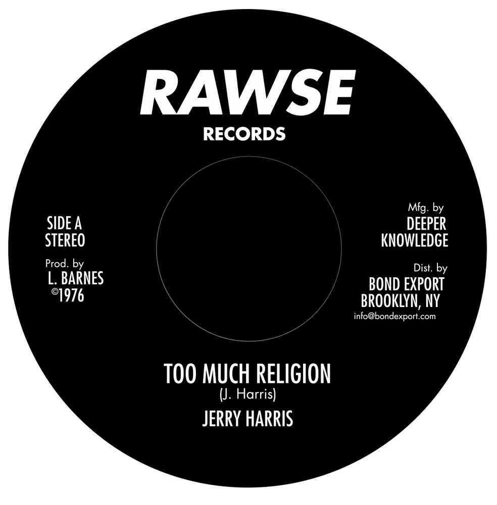 "Image of Jerry Harris / Baba Leslie - Too Much Religion 7"" (Rawse)"