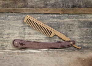 Image of Personalized Wood Straight Razor Beard Comb - Handmade from Walnut or Padauk Hardwood