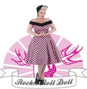 Image of Hearts & Roses - Pink/Black Polka Dot (9639 Long Dress)