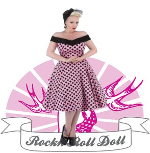 Image of Hearts & Roses - Pink/Black Polka Dot (9639 Long Dress)