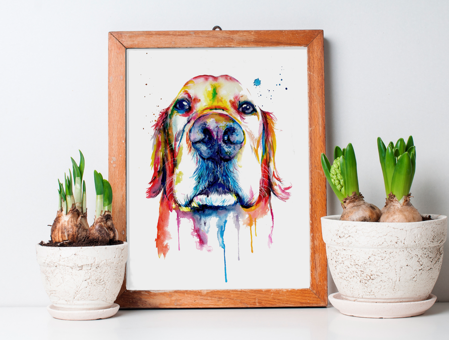 Image of Custom Watercolor Splash Pet Portrait on PAPER