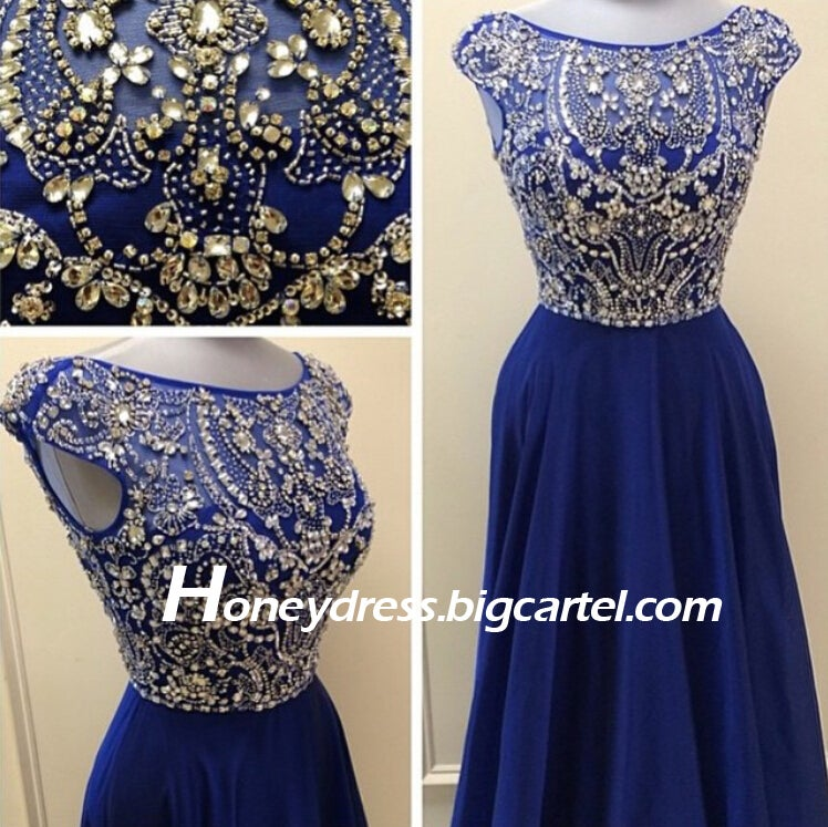 Image of Classic Dark Blue Illusion Chiffon Cap Sleeves Evening Dress With Beading Hot Sale