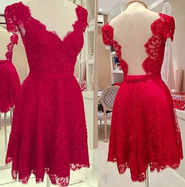 Image of Hot Sale Wine Red Lace Cap Sleeves V-Neck Cocktail Dress With Deep Back