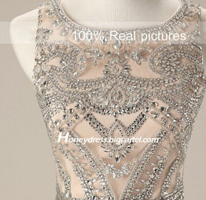 Image of Designer Champagne Chiffon Beaded Top Evening Dress With Crystals