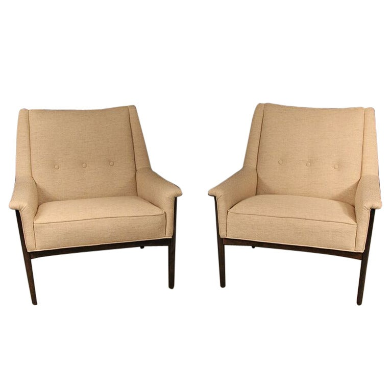 Image of Mid-Century Pair of Lounge Chairs by Folke Ohlsson for DUX