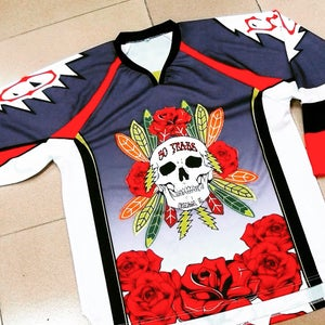 """Image of GD50 """"Fare Thee Well""""-CHICAGO 7/3,4,5 2015, Fifty Years Limited Edition Collectible Hockey Jersey"""
