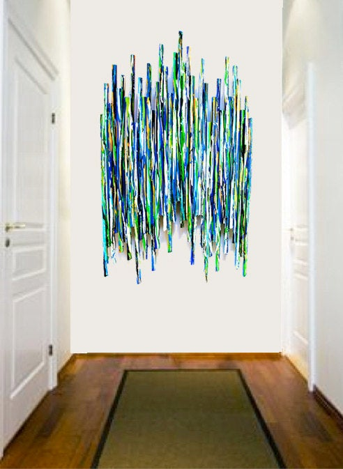 Image of 'CLIMB EVERY MOUNTAIN' | Wall Sculpture | Modern Art | Commercial Hospitality Art | Blue Wall Decor