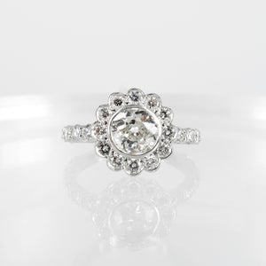 Image of PJ5237 18ct white gold floral cluster diamond engagement ring