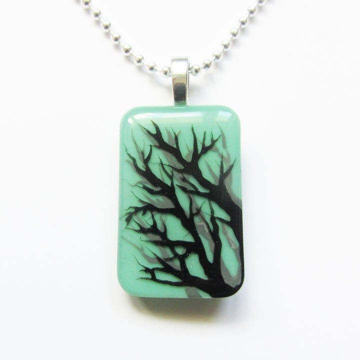 Image of Tree Shadow Resin Rectangular Pendant